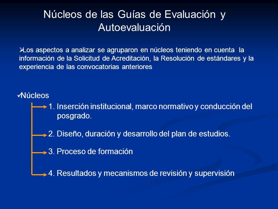Núcleos de las Guías de Evaluación y Autoevaluación
