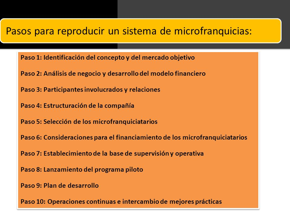 Pasos para reproducir un sistema de microfranquicias: