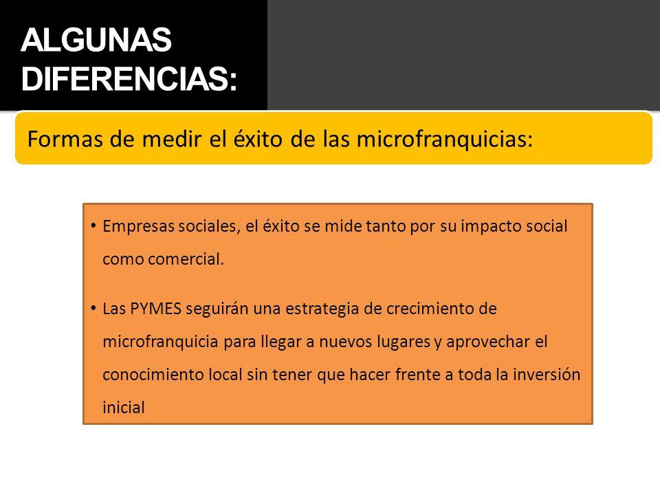 ALGUNAS DIFERENCIAS: Formas de medir el éxito de las microfranquicias:
