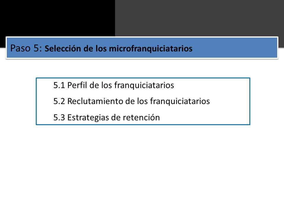 Paso 5: Selección de los microfranquiciatarios