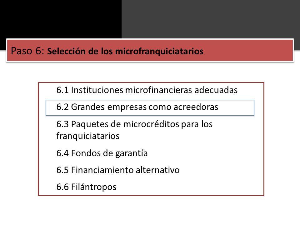 Paso 6: Selección de los microfranquiciatarios
