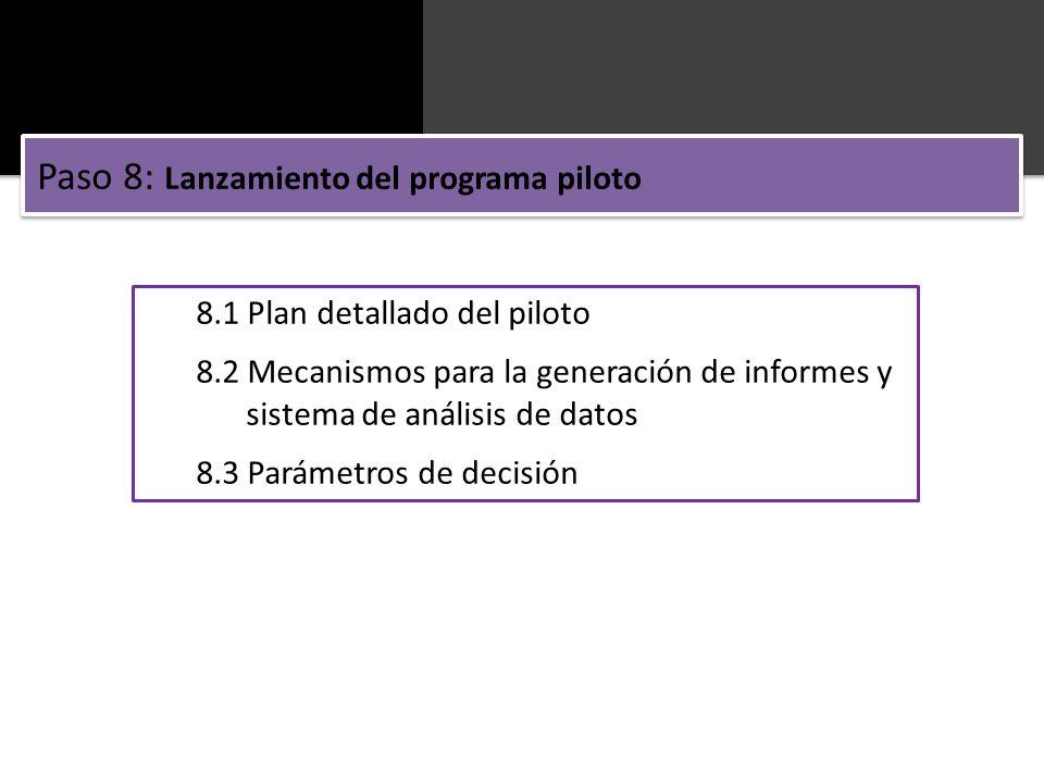 Paso 8: Lanzamiento del programa piloto