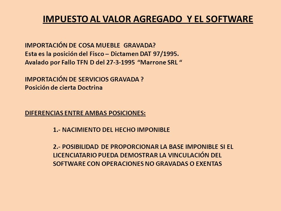 IMPUESTO AL VALOR AGREGADO Y EL SOFTWARE
