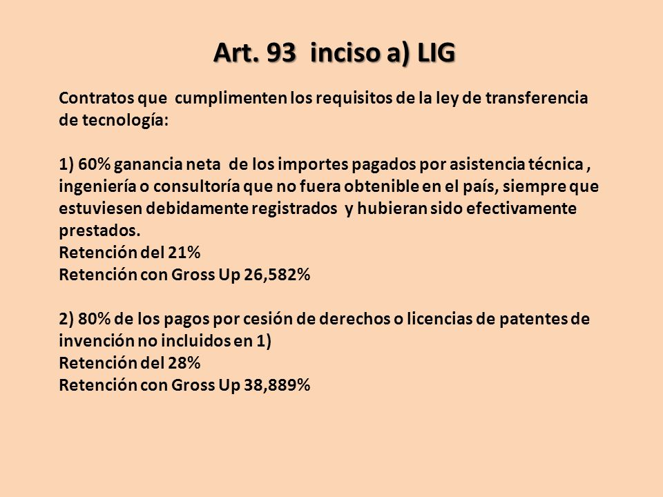 Art. 93 inciso a) LIG