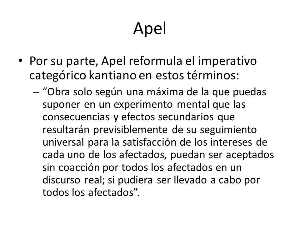 Apel Por su parte, Apel reformula el imperativo categórico kantiano en estos términos: