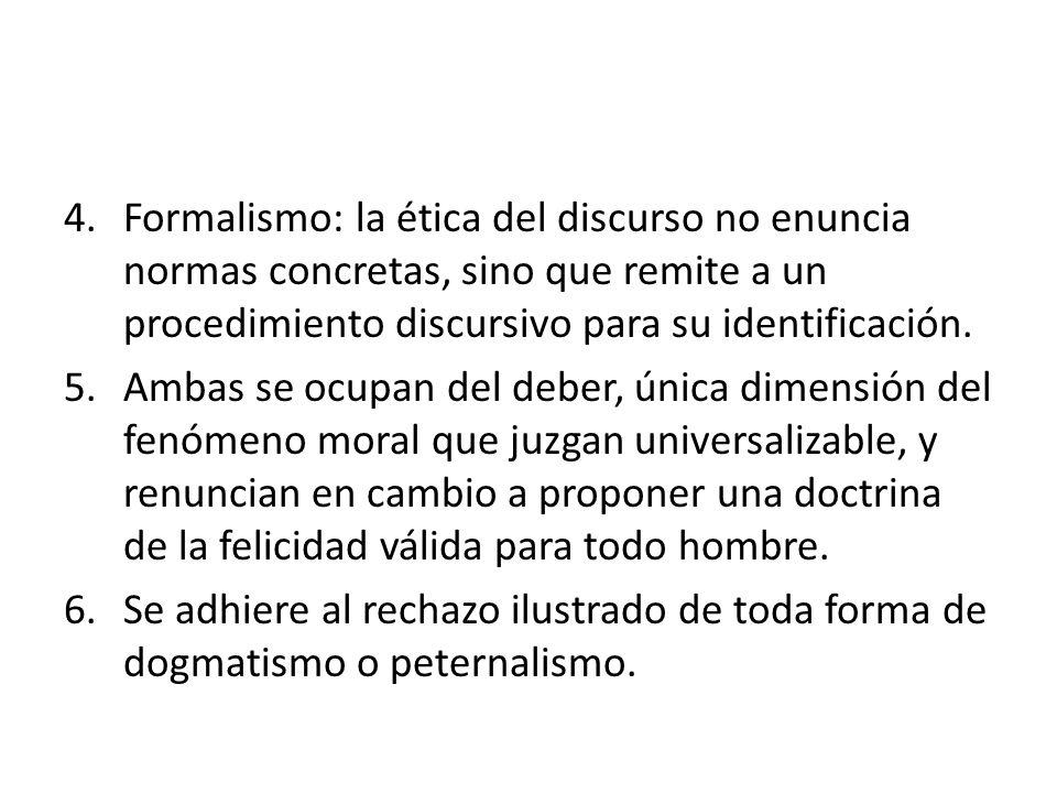 Formalismo: la ética del discurso no enuncia normas concretas, sino que remite a un procedimiento discursivo para su identificación.