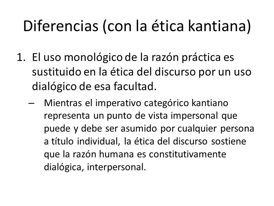 Diferencias (con la ética kantiana)
