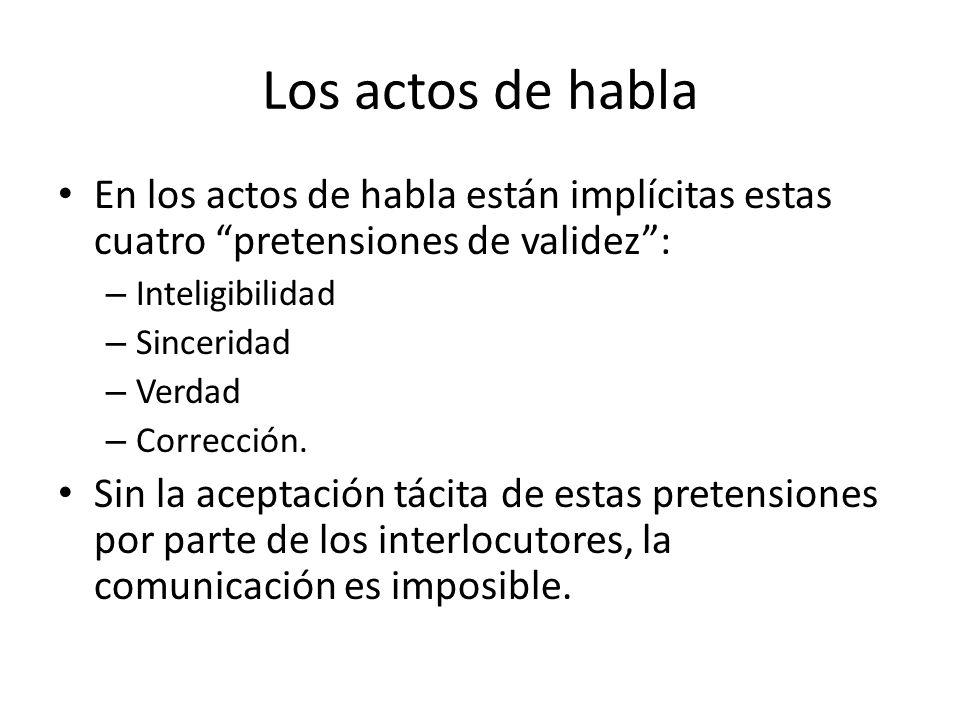 Los actos de habla En los actos de habla están implícitas estas cuatro pretensiones de validez : Inteligibilidad.