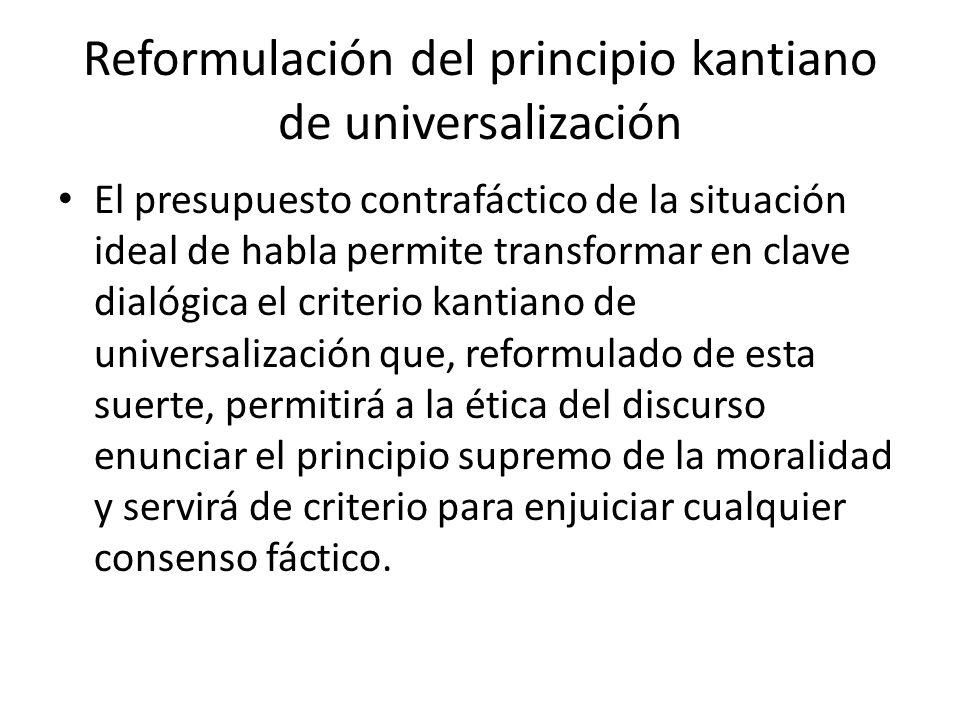 Reformulación del principio kantiano de universalización