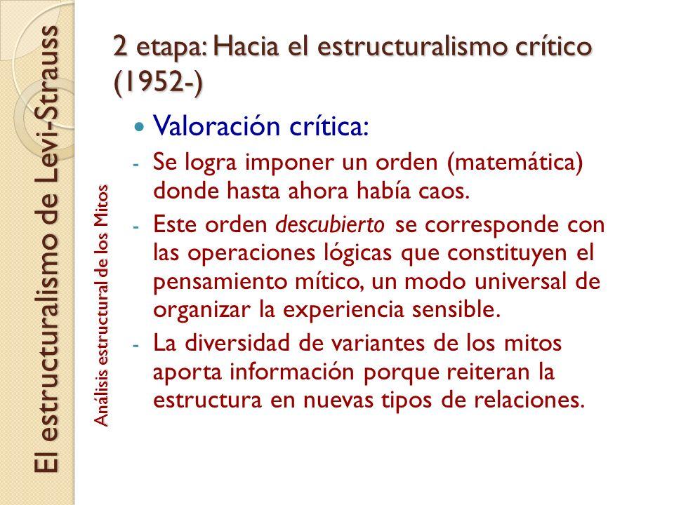 2 etapa: Hacia el estructuralismo crítico (1952-)