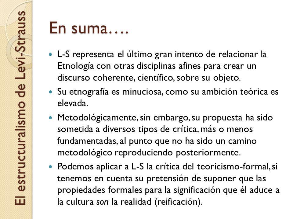 En suma…. El estructuralismo de Levi-Strauss