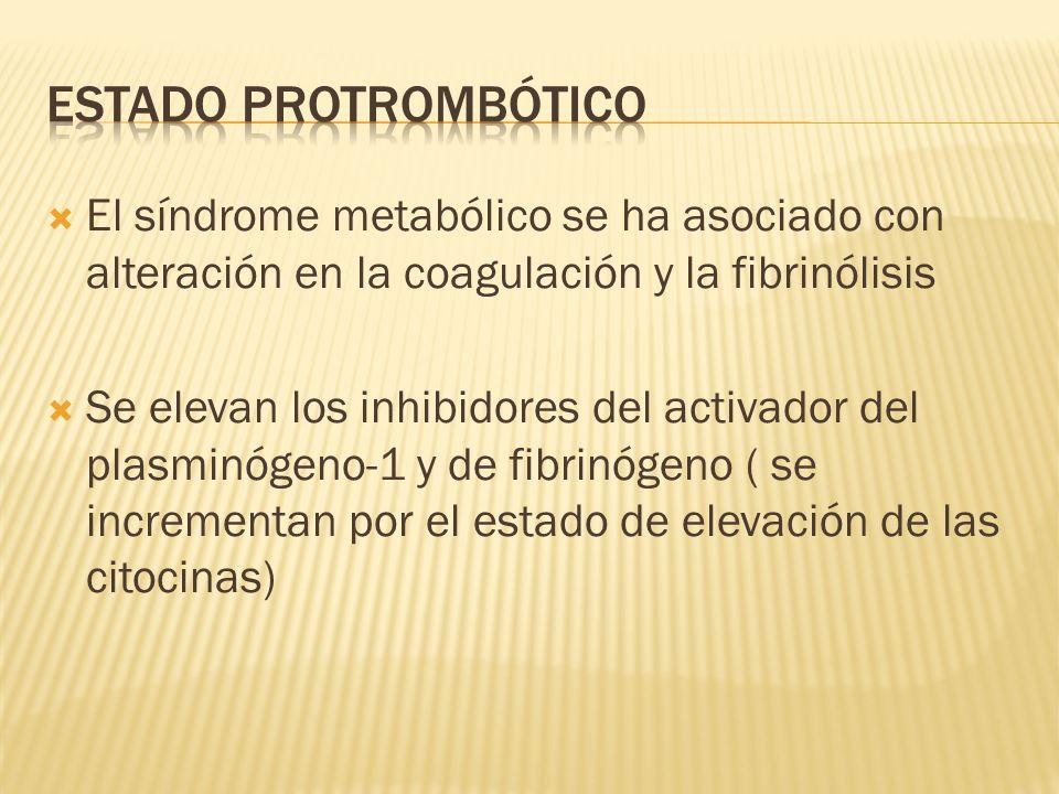 Estado protrombótico El síndrome metabólico se ha asociado con alteración en la coagulación y la fibrinólisis.
