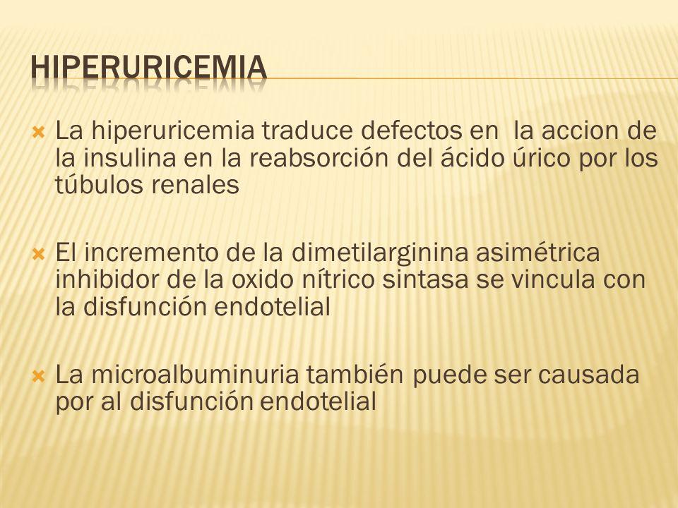 Hiperuricemia La hiperuricemia traduce defectos en la accion de la insulina en la reabsorción del ácido úrico por los túbulos renales.
