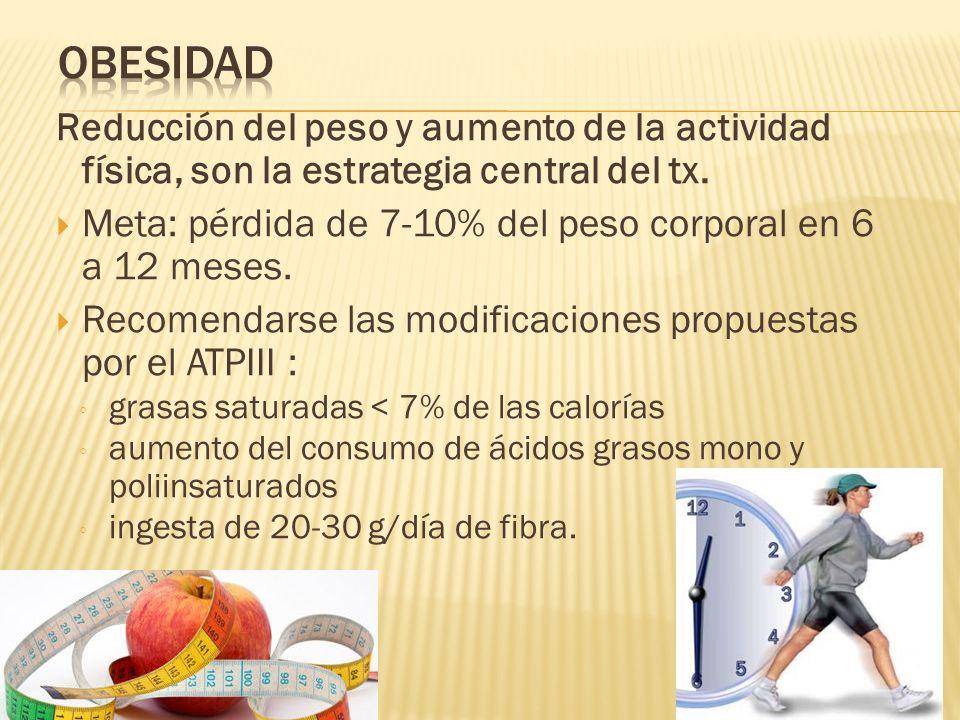 Obesidad Reducción del peso y aumento de la actividad física, son la estrategia central del tx.