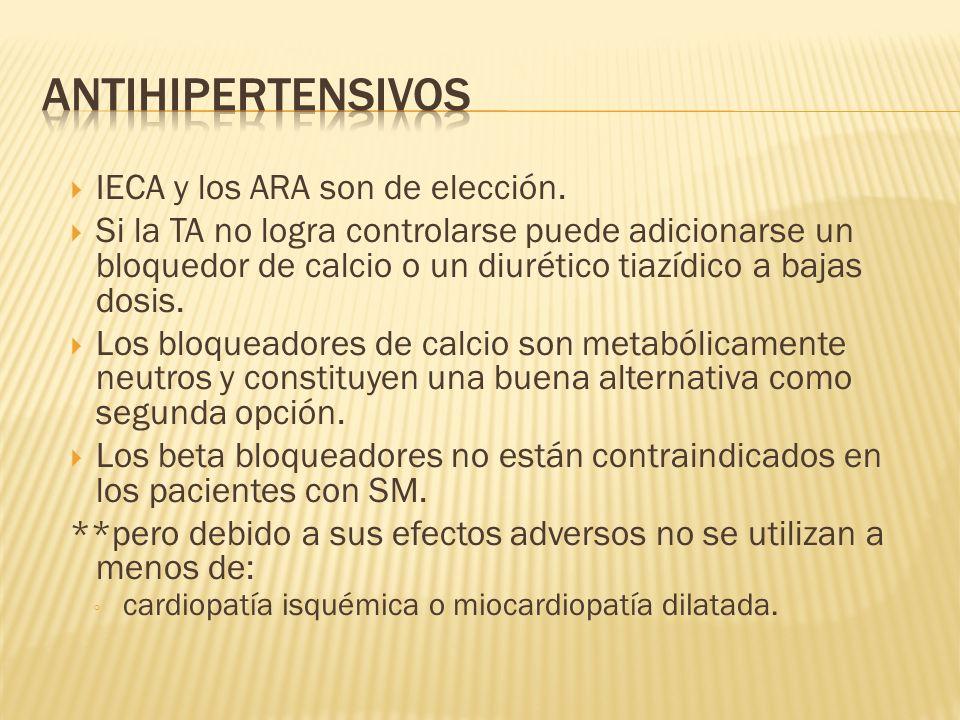 Antihipertensivos IECA y los ARA son de elección.
