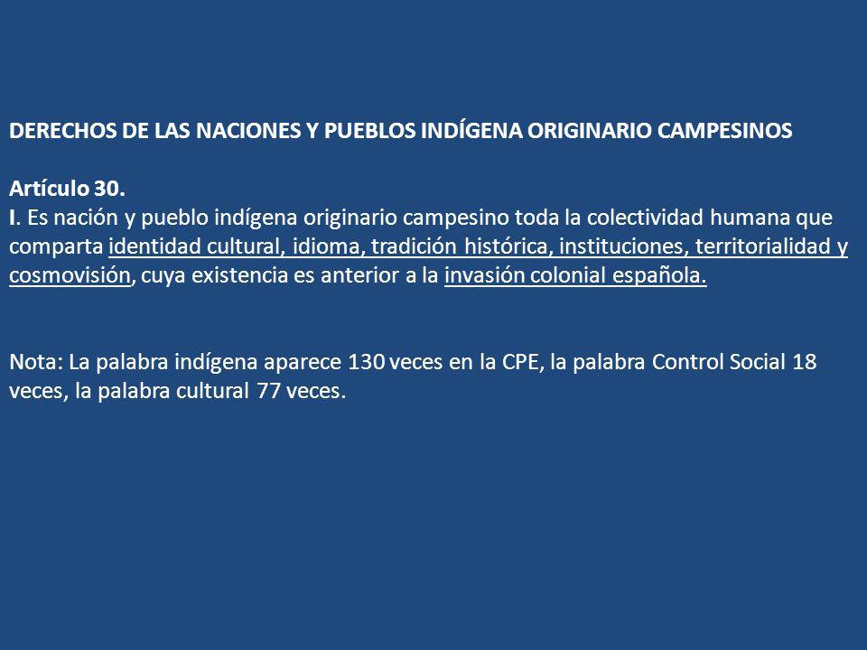 DERECHOS DE LAS NACIONES Y PUEBLOS INDÍGENA ORIGINARIO CAMPESINOS Artículo 30.