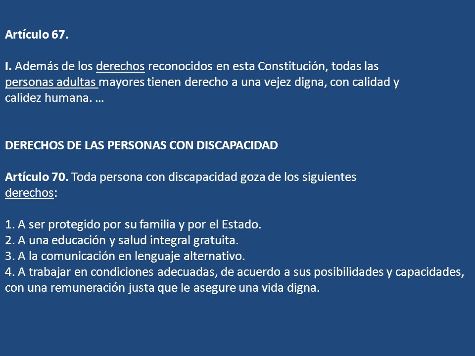 Artículo 67. I.