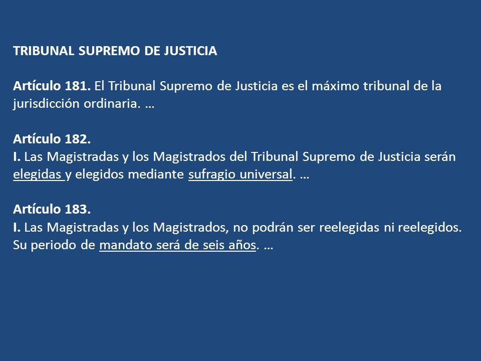 TRIBUNAL SUPREMO DE JUSTICIA Artículo 181