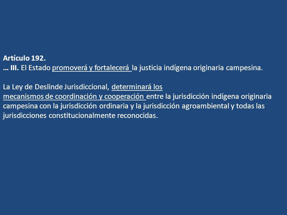 Artículo 192. … III. El Estado promoverá y fortalecerá la justicia indígena originaria campesina.