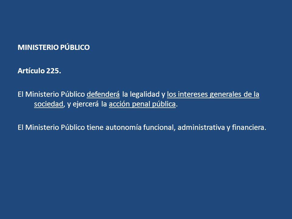 MINISTERIO PÚBLICO Artículo 225.