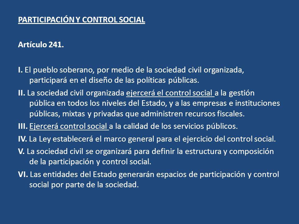 PARTICIPACIÓN Y CONTROL SOCIAL