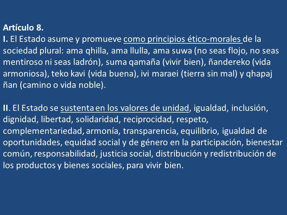 Artículo 8. I.