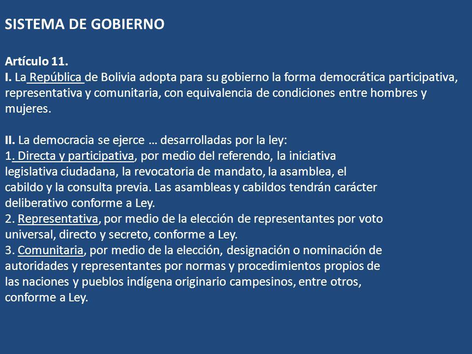 SISTEMA DE GOBIERNO Artículo 11. I