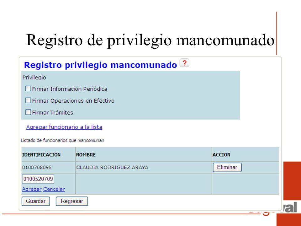 Registro de privilegio mancomunado