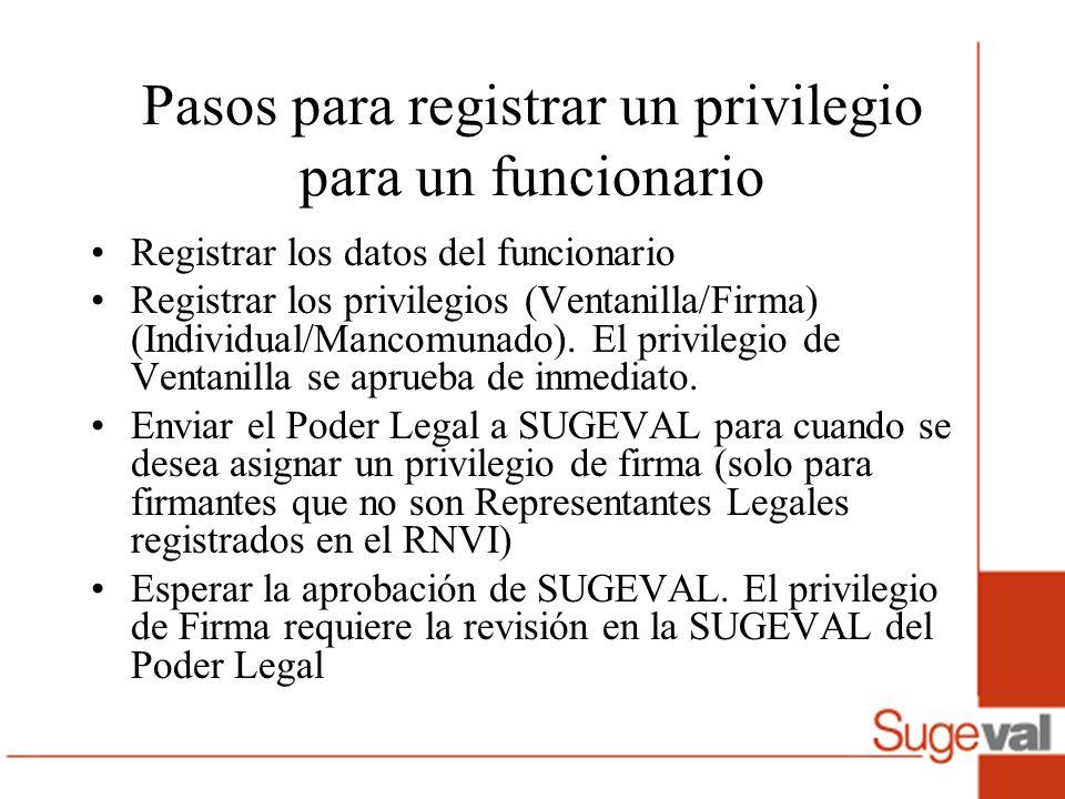 Pasos para registrar un privilegio para un funcionario