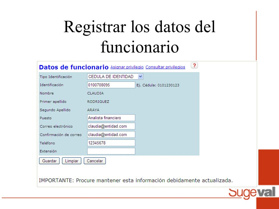 Registrar los datos del funcionario