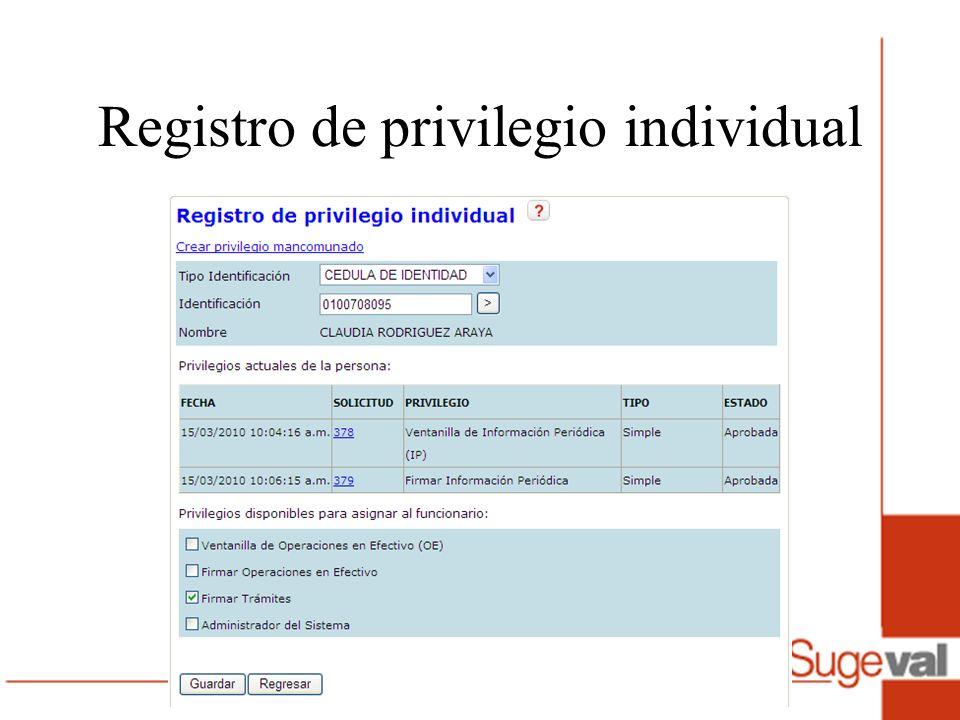Registro de privilegio individual
