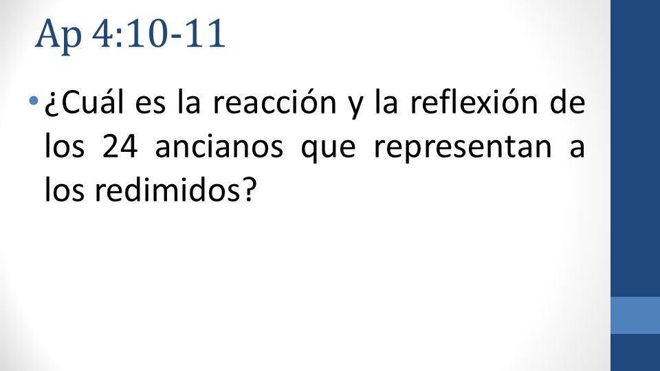 Ap 4:10-11 ¿Cuál es la reacción y la reflexión de los 24 ancianos que representan a los redimidos
