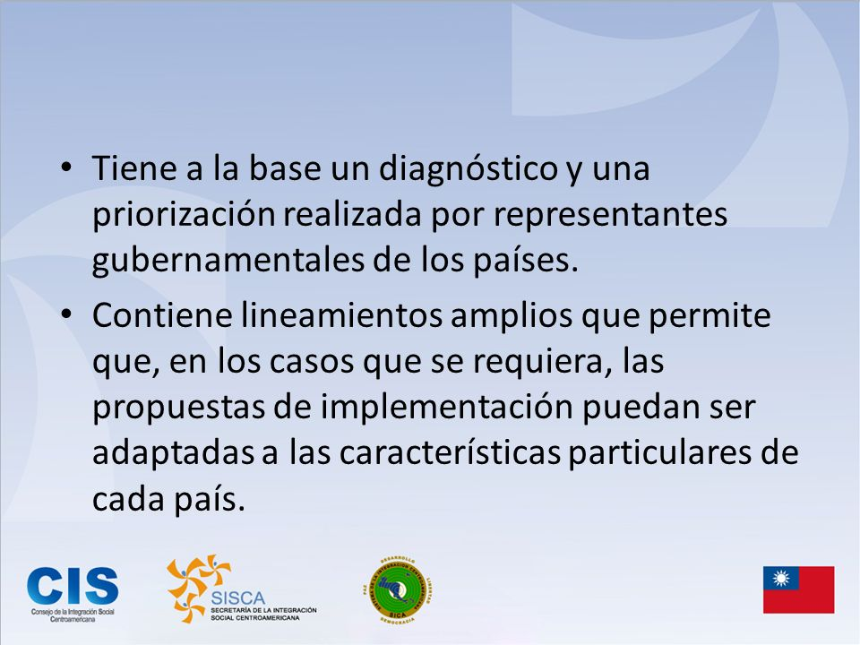 Tiene a la base un diagnóstico y una priorización realizada por representantes gubernamentales de los países.