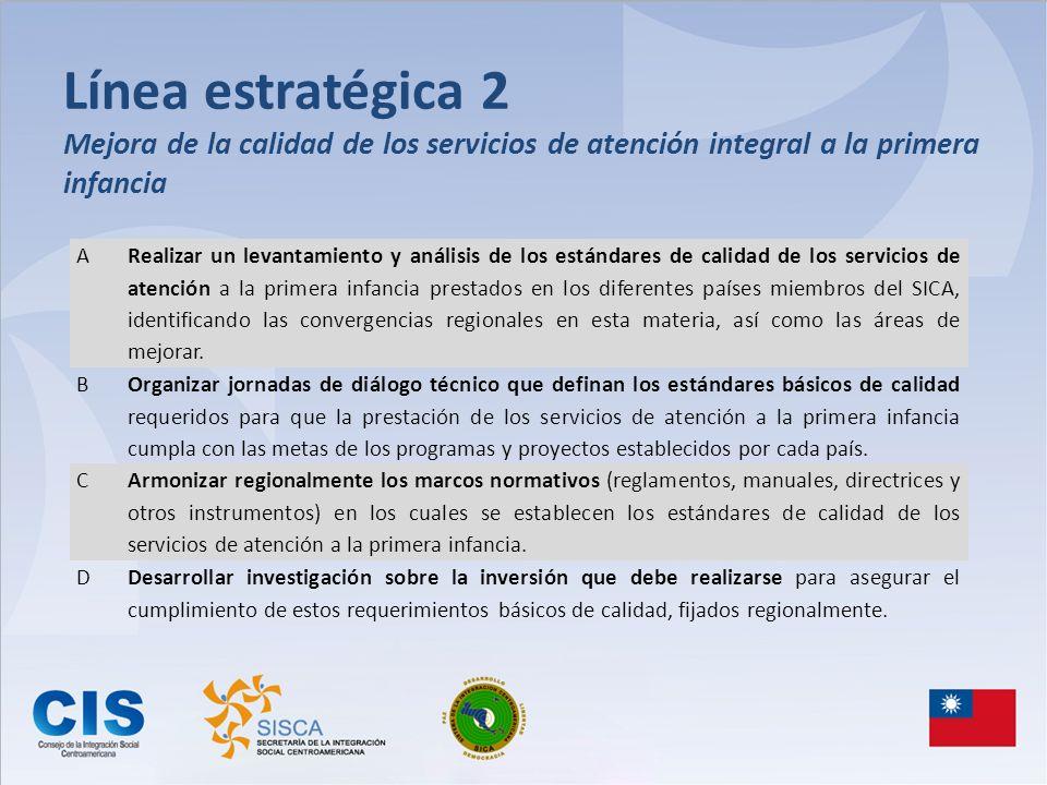 Línea estratégica 2 Mejora de la calidad de los servicios de atención integral a la primera infancia