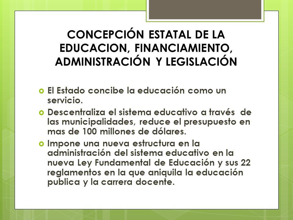 CONCEPCIÓN ESTATAL DE LA EDUCACION, FINANCIAMIENTO, ADMINISTRACIÓN Y LEGISLACIÓN