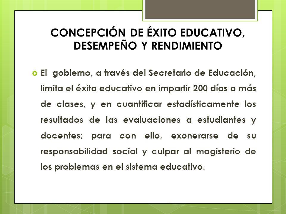 CONCEPCIÓN DE ÉXITO EDUCATIVO, DESEMPEÑO Y RENDIMIENTO