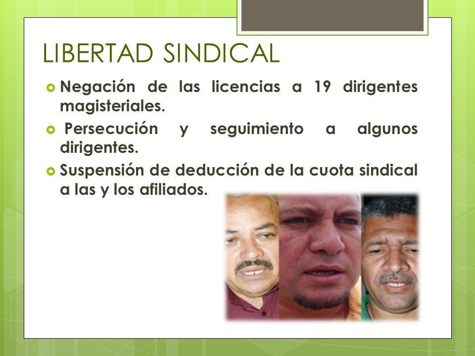 LIBERTAD SINDICAL Negación de las licencias a 19 dirigentes magisteriales. Persecución y seguimiento a algunos dirigentes.