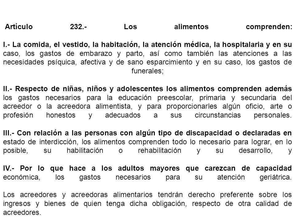 Artículo 232. - Los alimentos comprenden: I