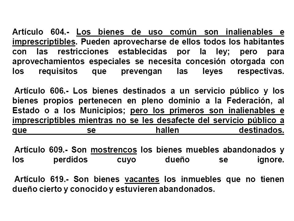 Artículo 604.- Los bienes de uso común son inalienables e imprescriptibles.