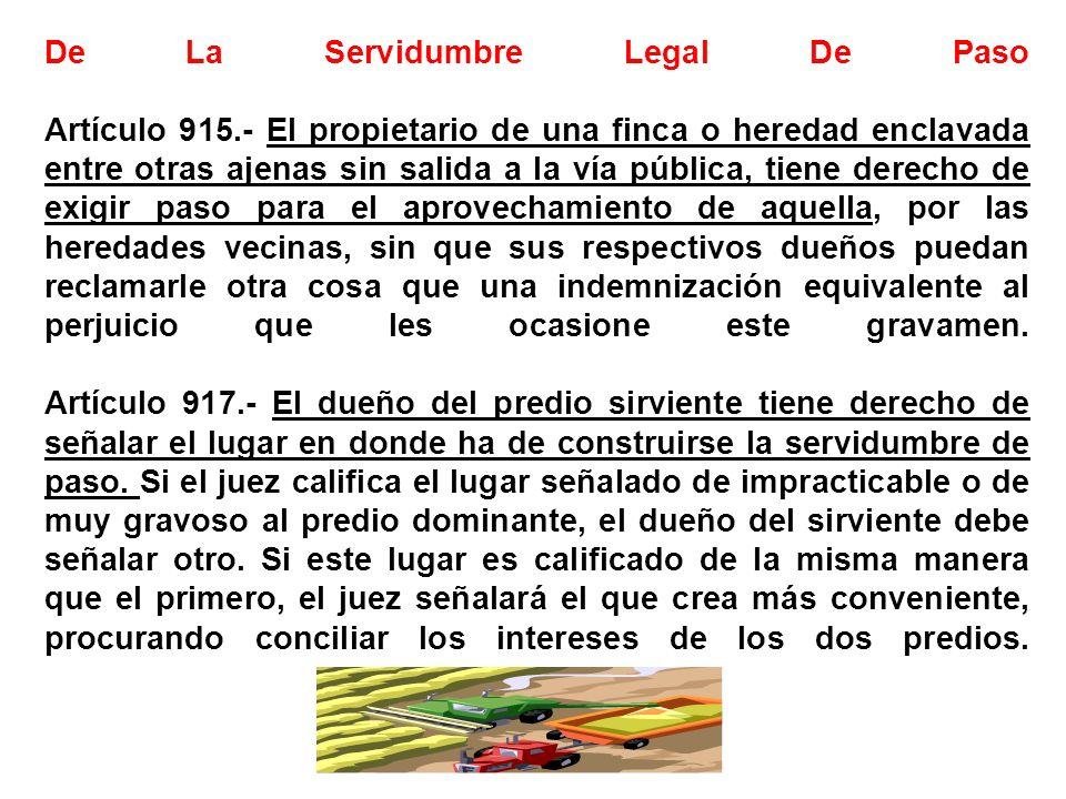 De La Servidumbre Legal De Paso Artículo 915