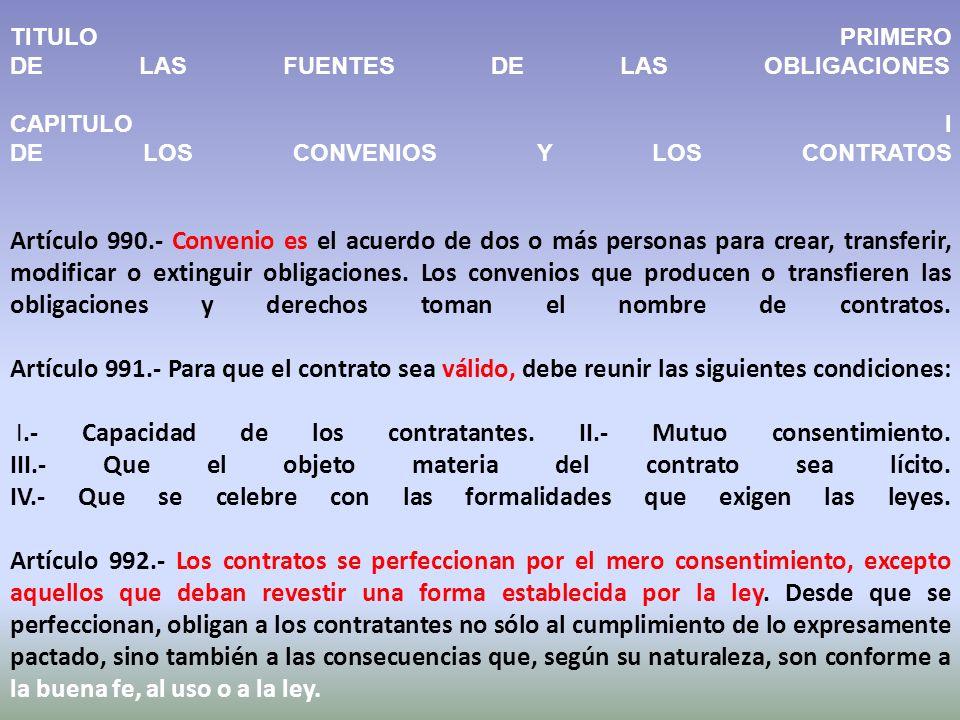 TITULO PRIMERO DE LAS FUENTES DE LAS OBLIGACIONES CAPITULO I DE LOS CONVENIOS Y LOS CONTRATOS Artículo 990.- Convenio es el acuerdo de dos o más personas para crear, transferir, modificar o extinguir obligaciones.
