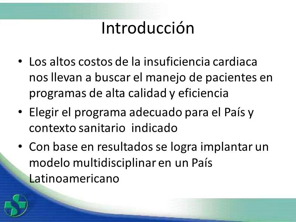 Introducción Los altos costos de la insuficiencia cardiaca nos llevan a buscar el manejo de pacientes en programas de alta calidad y eficiencia.