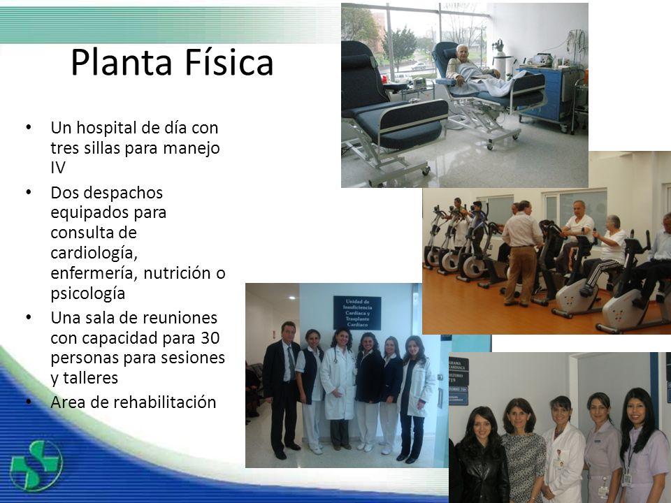 Planta Física Un hospital de día con tres sillas para manejo IV