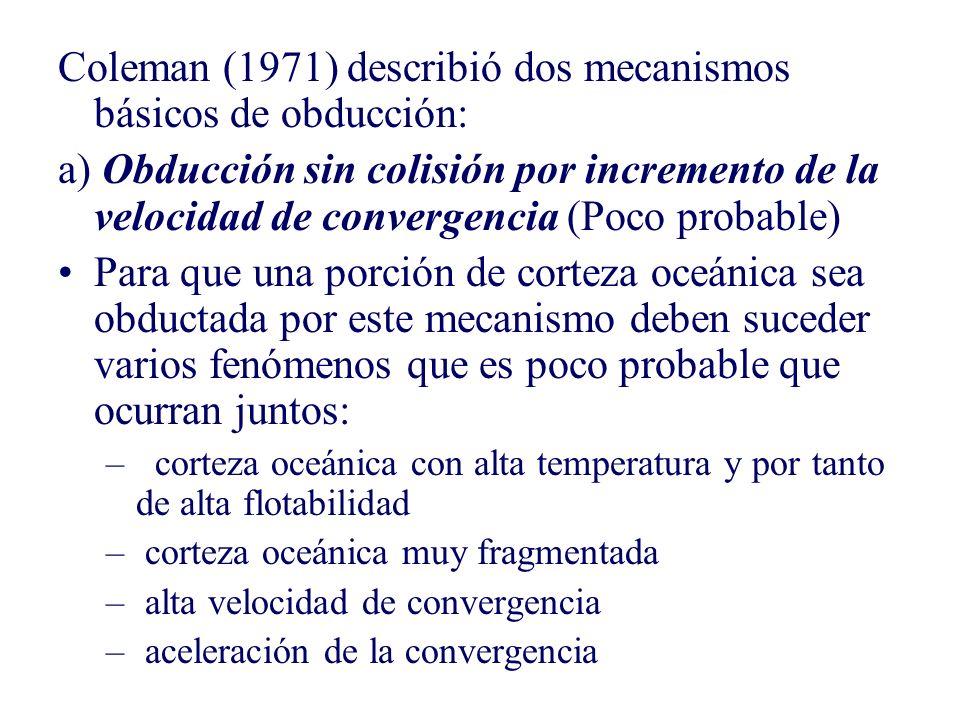 Coleman (1971) describió dos mecanismos básicos de obducción: