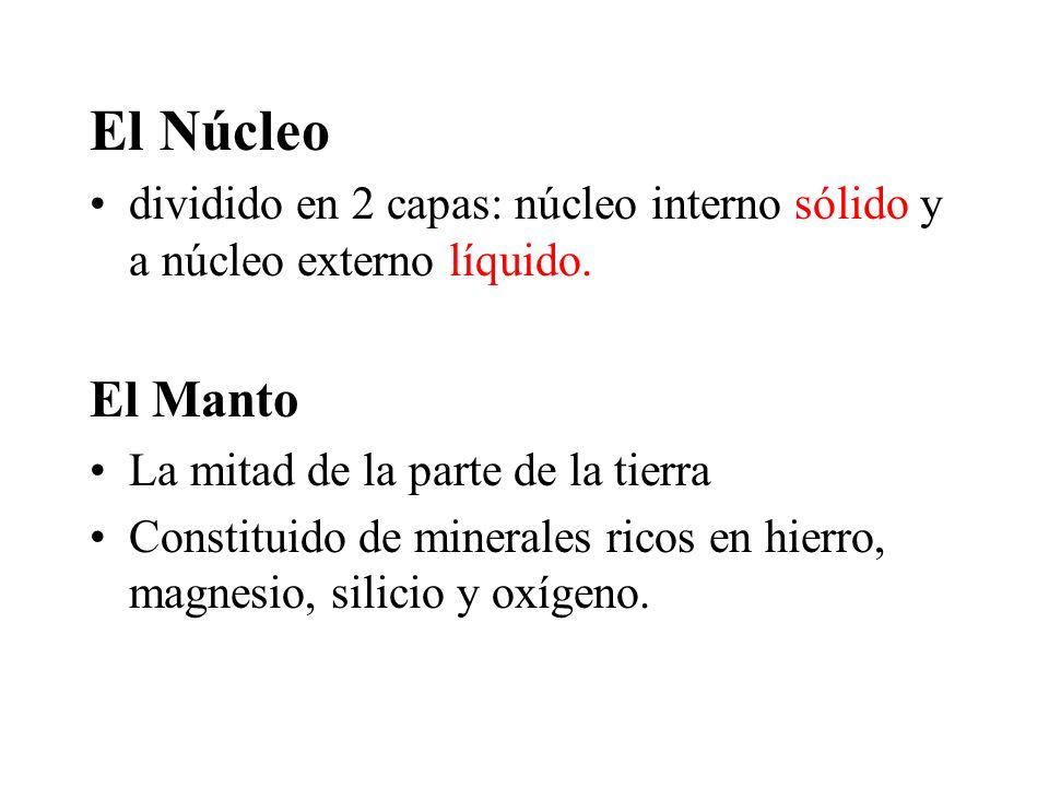 El Núcleo dividido en 2 capas: núcleo interno sólido y a núcleo externo líquido. El Manto. La mitad de la parte de la tierra.