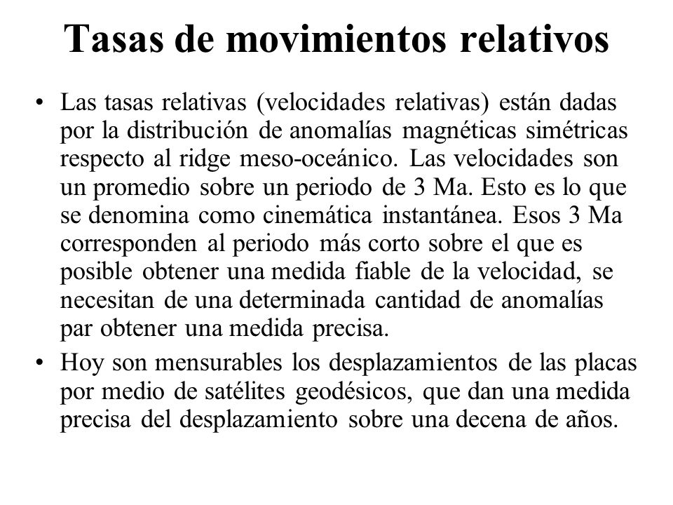 Tasas de movimientos relativos