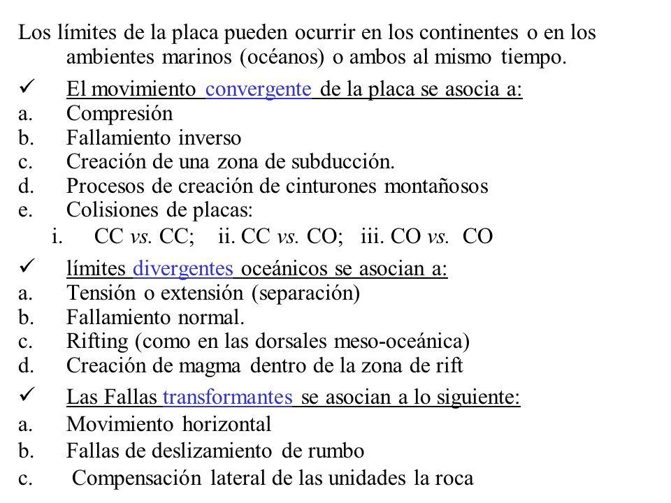 Los límites de la placa pueden ocurrir en los continentes o en los ambientes marinos (océanos) o ambos al mismo tiempo.