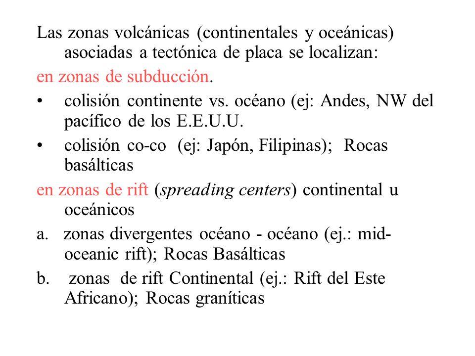 Las zonas volcánicas (continentales y oceánicas) asociadas a tectónica de placa se localizan: