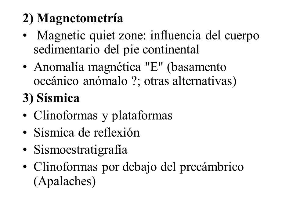 2) Magnetometría Magnetic quiet zone: influencia del cuerpo sedimentario del pie continental.