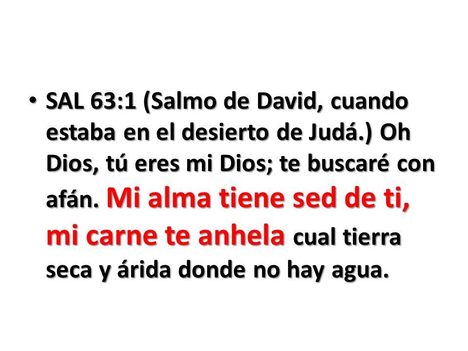 SAL 63:1 (Salmo de David, cuando estaba en el desierto de Judá